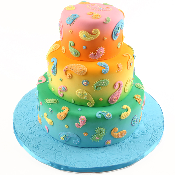 Bright Paisely Tiered Cake