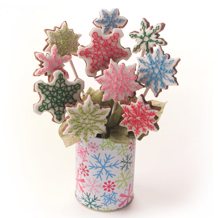 Bright snowflake cookie bouquet