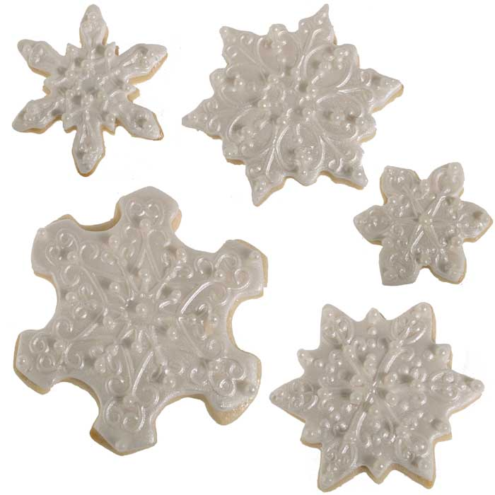 Shimmer Cookie Snowflakes with Pearls