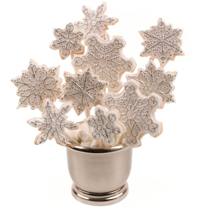 Silver and white snowflake bouquet